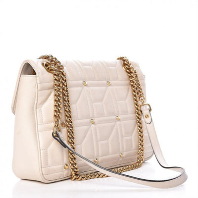 Gucci Marmont Calfskin Matelasse Studded Gg White Shoulder Bag