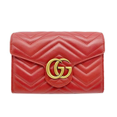 Gucci Marmont Gg Chevron Quilted Flap Wallet On A Chain Red Leather Cross Body Bag