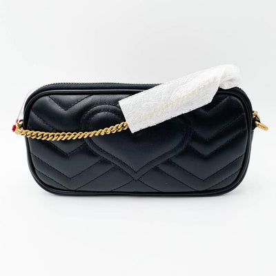 Gucci Marmont Gg Mini Black Leather Cross Body Bag