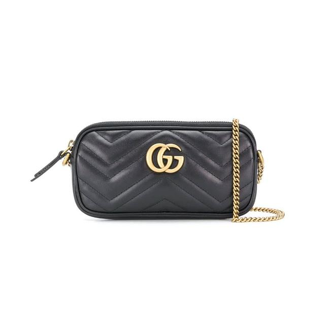 Gucci Marmont Gg Mini Quilted Black Leather Shoulder Bag