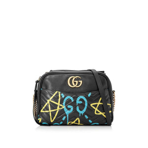 Gucci Marmont Ghost Chain Shoulder Black Lambskin Cross Body Bag