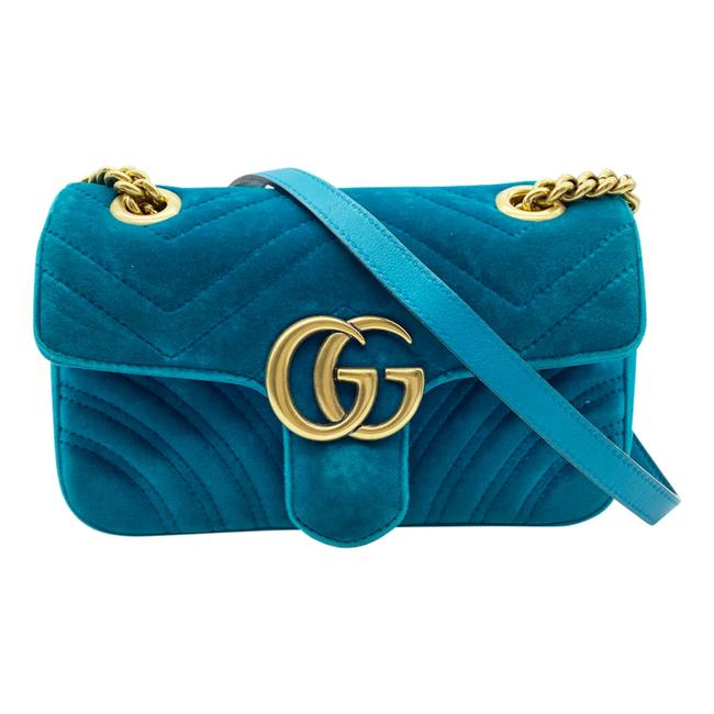 Gucci Marmont Matelasse Mini Gg Petrol Blue Chevron Velvet Shoulder Bag