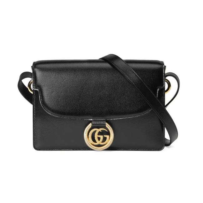 Gucci Marmont Messenger Small Gg Ring 2020 Black Leather Shoulder Bag