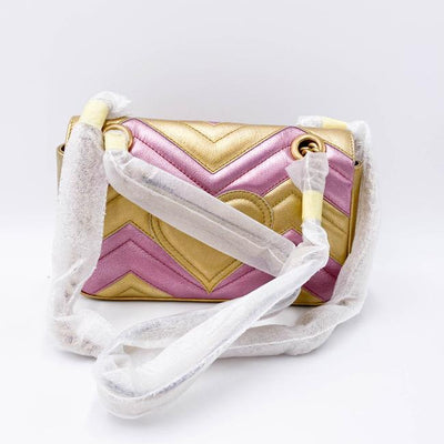 Gucci Marmont Metallic Calfskin Matelasse Mini Gg Oro Rossa Pink Gold Leather Shoulder Bag