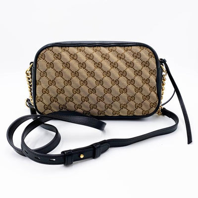 Gucci Marmont Monogram Matelasse Chain Beige Black Gg Canvas Shoulder Bag
