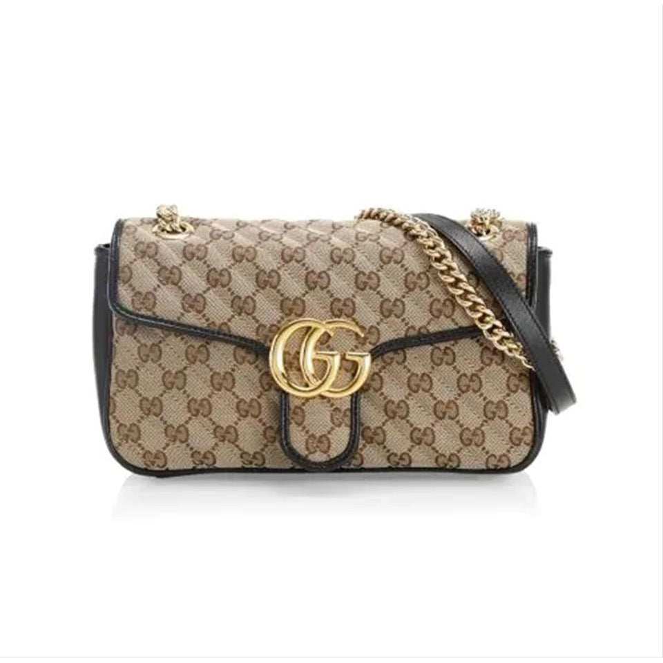 Gucci Marmont Small Beige Gg Canvas Shoulder Bag