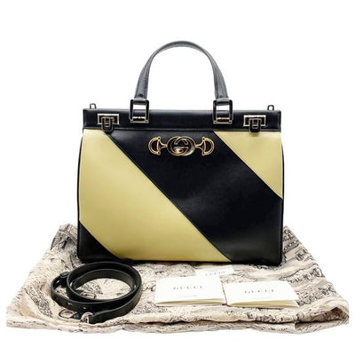 Gucci Medium Zumi Diagonal Stripe Top Handle Black Leather Shoulder Bag