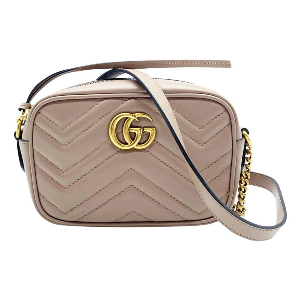 Gucci Mini Camera Marmont Gg Small Quilted Beige Leather Shoulder Bag