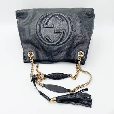 Gucci Shoulder Bag Soho Patent Calfskin Medium Chain Black Leather Tote