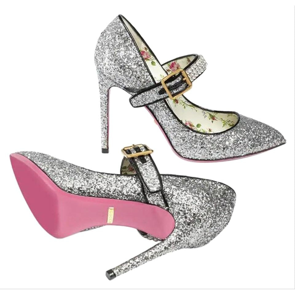 9876db0bc84 Gucci Silver Sylvie Crystal-embellished Glittered Leather In Pumps Size 39  ...