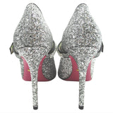 Gucci Silver Sylvie Crystal-embellished Glittered Leather In Pumps Size 39