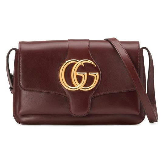 Gucci Small Convertible Arli Gg Bordeaux Burgundy Red Leather Shoulder Bag