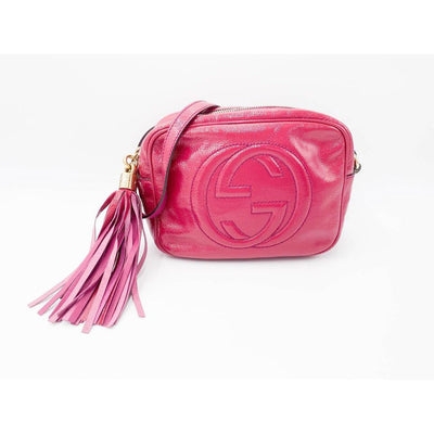 Gucci Soho Disco Fuchsia Vernis Pink Leather Cross Body Bag