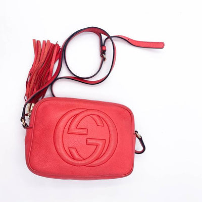 Gucci Soho Disco Pebbled Calfskin Small Begonia Pink Leather Shoulder Bag