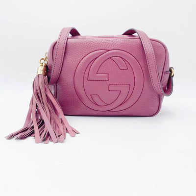 Gucci Soho Disco Pebbled Calfskin Peonia Flower Pink Leather Shoulder Bag