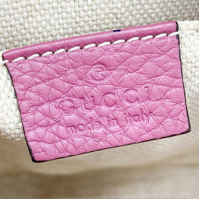 Gucci Soho Disco Pebbled Calfskin Small Peonia Flower Pink Leather Shoulder Bag