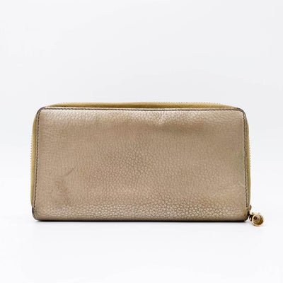 Gucci Soho Metallic Pebbled Calfskin Zip Around Wallet Golden Beige Gold Leather Clutch