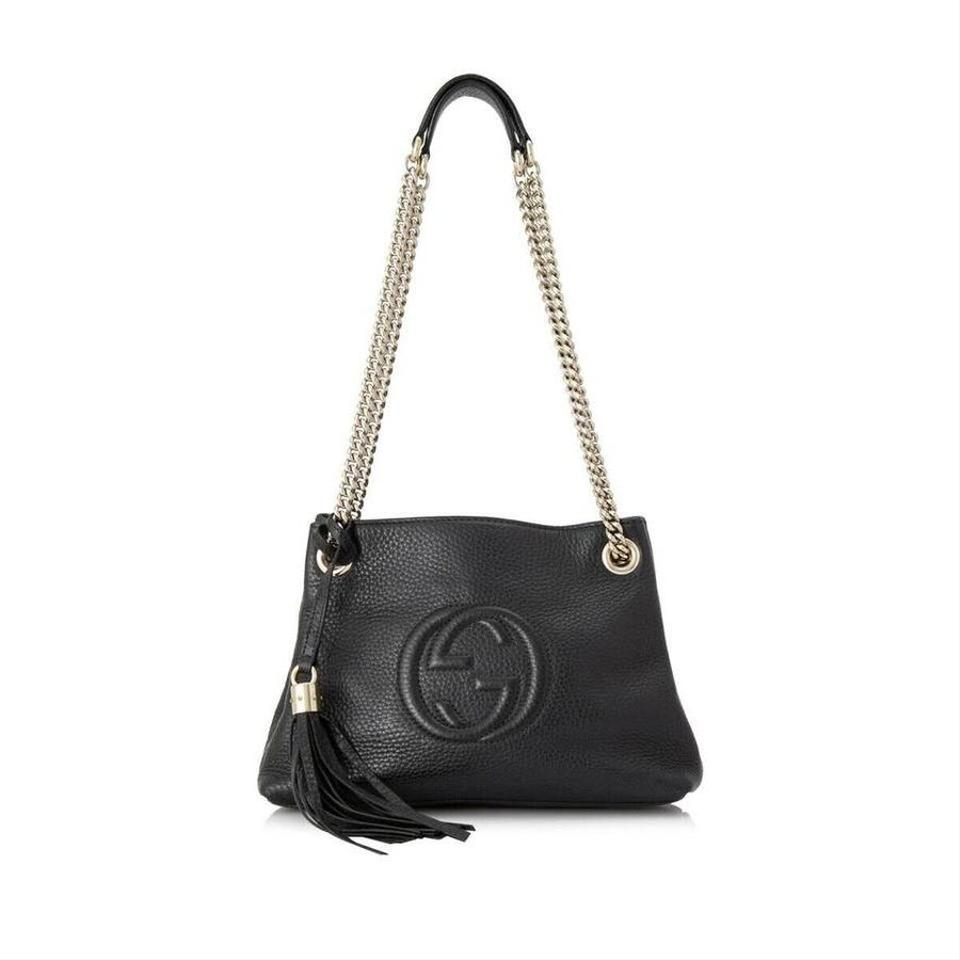 Gucci Soho Pebbled Calfskin Small Chain Black Leather Shoulder Bag