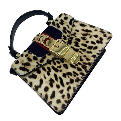 Gucci Sylvie Mini Leather-trimmed Calf Hair Leopard Black Cross Body Bag