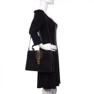 Gucci Sylvie Top Handle Calfskin Black Leather Shoulder Bag