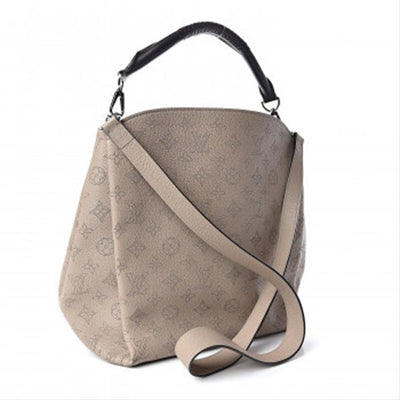 Louis Vuitton Babylone Mahina Pm Galet Beige Leather Hobo Bag