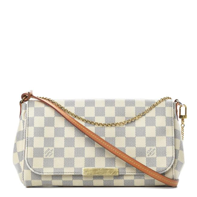 Louis Vuitton Favorite Damier Azur Mm White Canvas Shoulder Bag