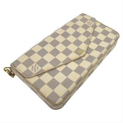 Louis Vuitton Felicie Damier Azur Rose Ballerine Chain White Coated Canvas Cross Body Bag