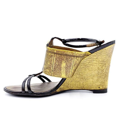 Louis Vuitton Gold Jewel Metallic Sandals Wedges