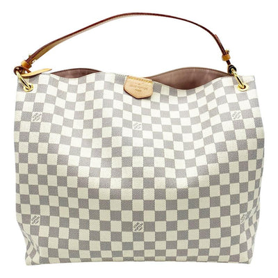 Louis Vuitton Graceful Mm Rose Ballerine Pink Interior White Damier Azur Canvas Hobo Bag