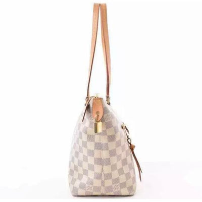 Louis Vuitton Iena Pm Rose Ballerine White Damier Azur Canvas Tote