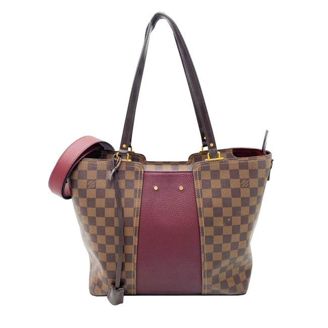 Louis Vuitton Jersey Taurillon Bordeaux Brown Damier Ebene Canvas Tote