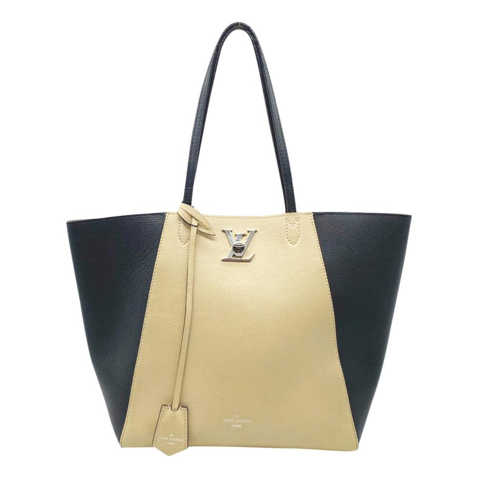 Louis Vuitton Cabas Lockme Black and Nude Vanille Beige Leather Tote