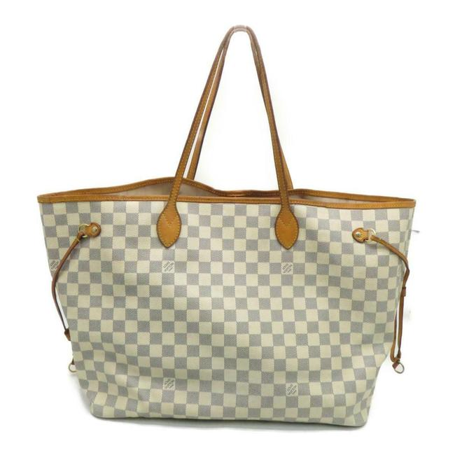 Louis Vuitton Neverfull Damier Azur Gm Brown Canvas Tote