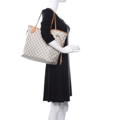 Louis Vuitton Neverfull Damier Azur Mm White Canvas Tote