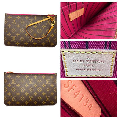 Louis Vuitton Neverfull Mm Pivoine Fuschia with Pouch Brown Monogram Canvas Tote