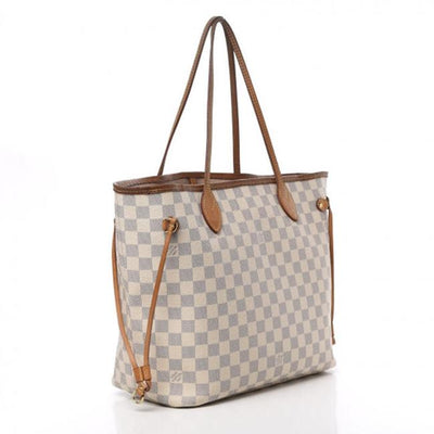 Louis Vuitton Neverfull Neo Damier Azur Rose Ballerine Mm White Canvas Tote
