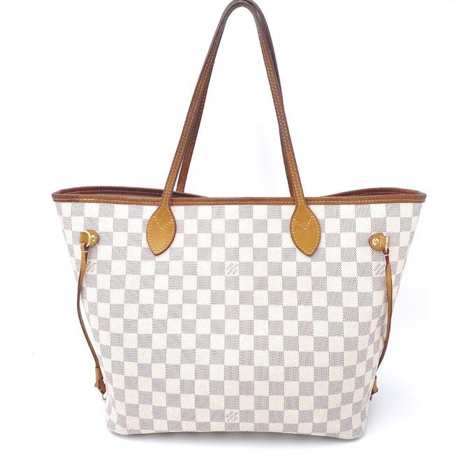 Louis Vuitton Neverfull Neo Mm Rose Ballerine Pink Interior White Damier Azur Canvas Tote