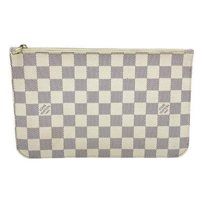 Louis Vuitton Neverfull Pochette Mm Gm White Damier Azur Canvas Wristlet