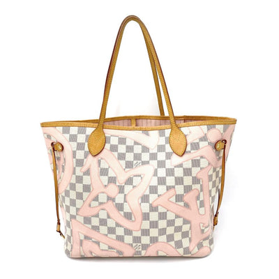 Louis Vuitton Neverfull Tahitienne Mm Pink Ballerine White Damier Azur Canvas Tote