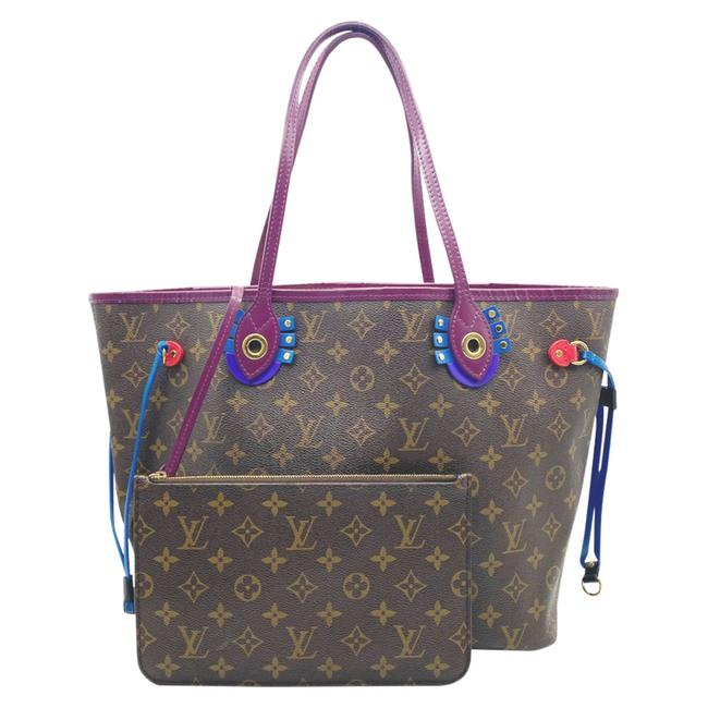 Louis Vuitton Neverfull Mm Magenta Brown Monogram Canvas/ Leather Tote