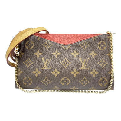 Louis Vuitton Pallas Clutch Brown Monogram Canvas Shoulder Bag