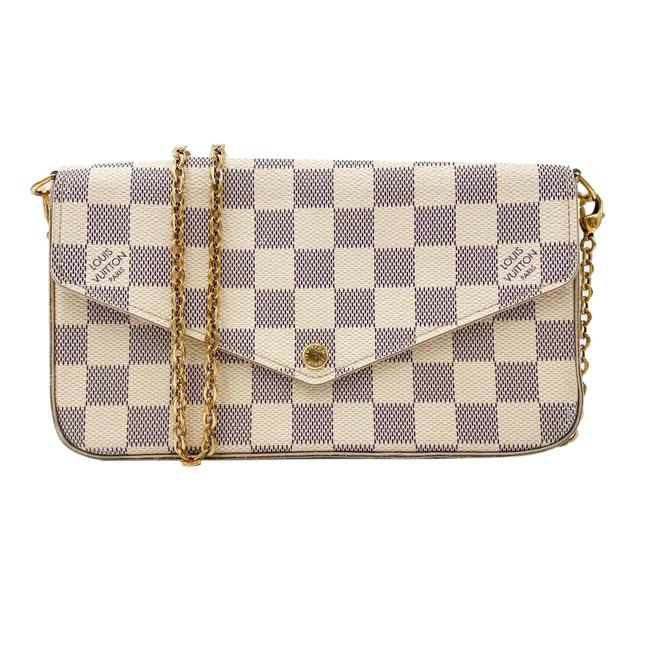 Louis Vuitton Pochette Felicie Chain Wallet Rose Ballerine White Damier Azur Canvas Shoulder Bag