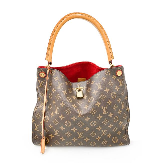 Louis Vuitton Red Cherry Monogram Gaia Brown Coated Canvas Shoulder Bag