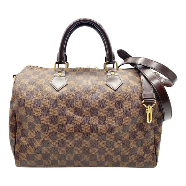 Louis Vuitton Speedy Bandouliere 30 Brown Damier Ebene Canvas Shoulder Bag