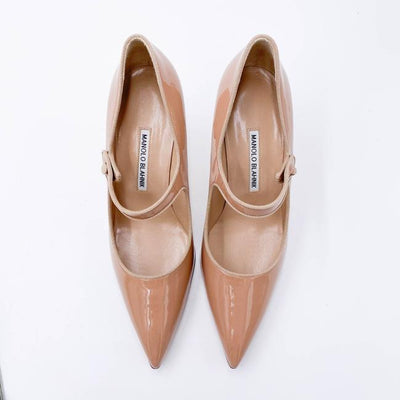 Manolo Blahnik Beige Campari Pointed Toe Mary Jane 11us / 41eu Pumps