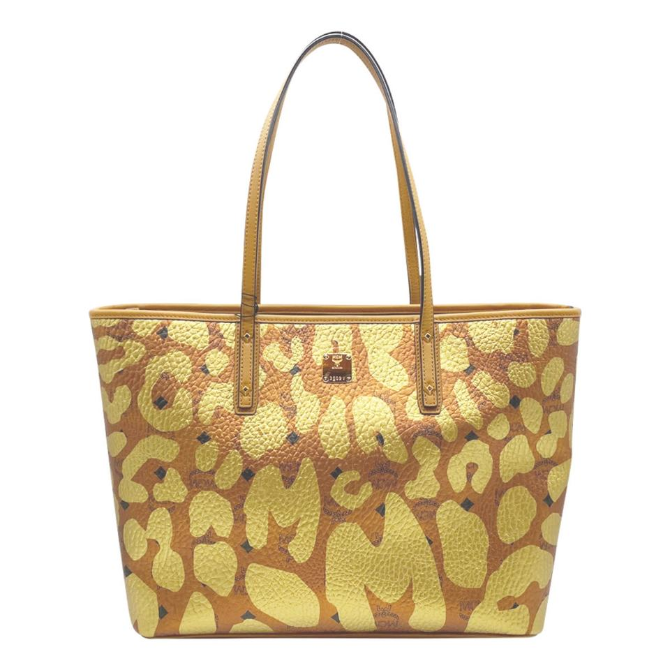 MCM Anya Metallic Leopard Print Coated Canvas Cognac Brown Leather Tote