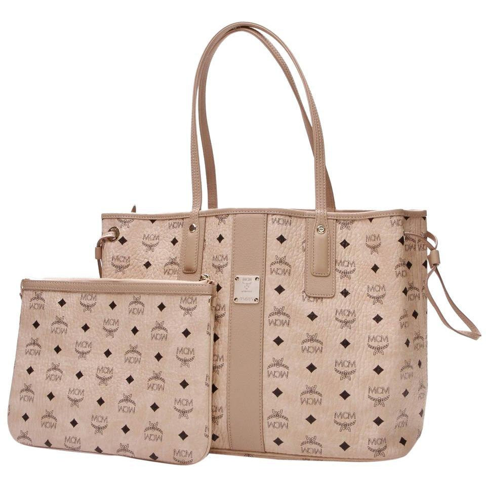 MCM Medium Liz Reversible Medium Tote Diamond Visetos Beige Shopper