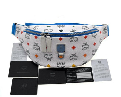 MCM Belt Bumbag Spectrum Skyoptic Fursten Visetos Funny Pack White Coated Canvas Messenger Bag