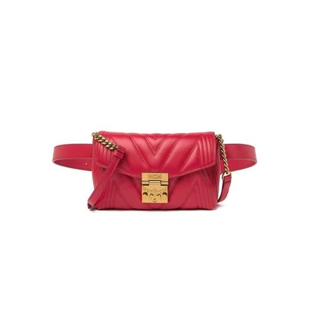 MCM Belt Patricia Quilted Red Leather Cross Body Bag