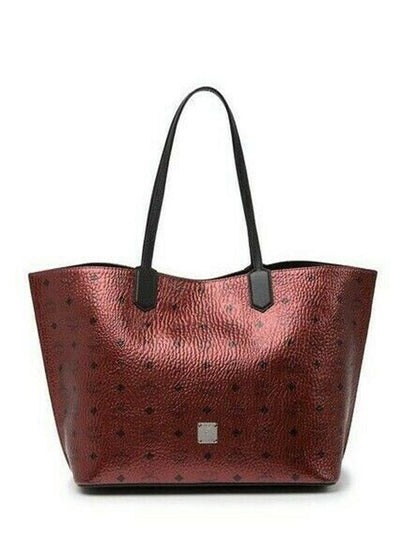MCM Diamond Visetos Metallic Red Coated Canvas Tote